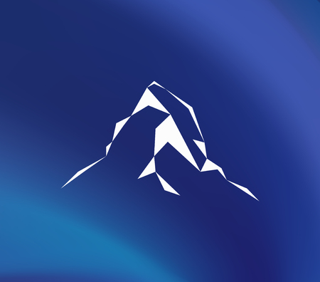 Snow mountains peak (Matterhorn) logo. Can be used as sports badge, emblem of mineral water, tourism banner, travel icon, sign, decor... Blue background.
