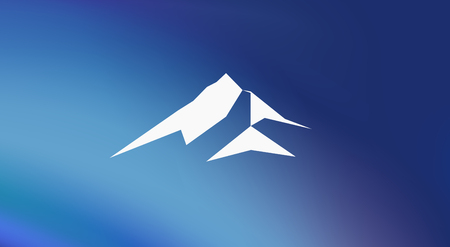 Snow mountains peak (Everest) logo. Much triangles. Blue background. Can be used as sports badge, emblem of mineral water, tourism banner, travel icon, sign, decor...