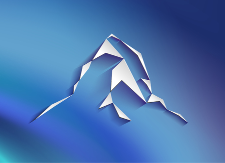 Web logo of  mountains peak (Matterhorn) with shadows. Can be used as sports badge, emblem of mineral water, tourism banner, travel icon, sign, decor... Blue background.
