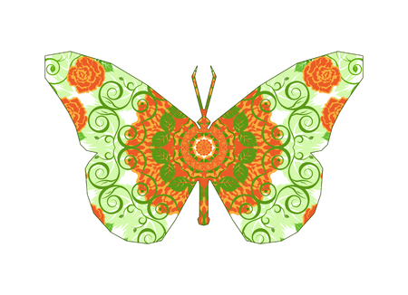 Silhouette of butterfly with circular ornament.  Mandala art. Orange and green tones.