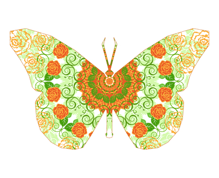 lightweight ornaments: Silhouette of butterfly with circular ornament.  Mandala art. Orange and green tones.