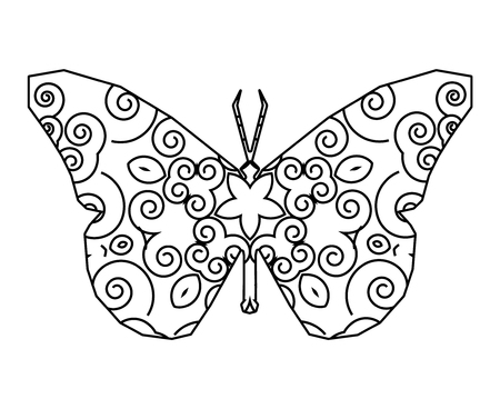 Silhouette of butterfly with floral circular ornament.  Mandala art.