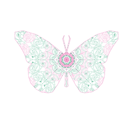 Silhouette of butterfly with circular ornament like spiderweb in lime and pink tones.  Floral mandala art.