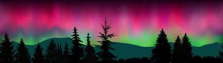 Nahtlose Landschaft. Schattenbild von Bergen, Koniferenbäume auf dem Hintergrund des bunten Himmels. Nordlichter. Standard-Bild - 77185950