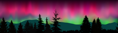 Seamless landscape. Silhouette of mountains, coniferous trees on the background of colorful sky. Northern lights.