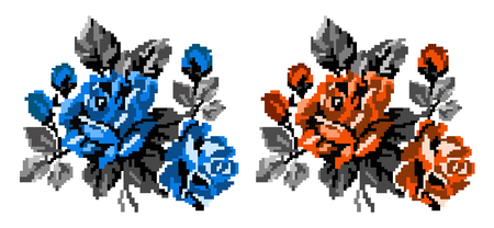 Two color bouquets of flowers (roses) in blue, orange and grey tones using traditional Ukrainian embroidery elements.  Can be used as pixel-art, card, emblem, icon. Stock Photo