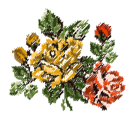 Color bouquet of flowers (roses) in yellow and orange tones using traditional Ukrainian embroidery elements, scribble. Can be used as card, emblem, icon.