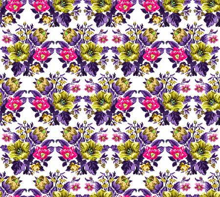 Color bouquet of wildflowers (lilia, bellflower, barberry flower and cornflowers)  using traditional Ukrainian embroidery elements. Yellow, pink, violet tones. Pixel-art. Seamless pattern. Zdjęcie Seryjne