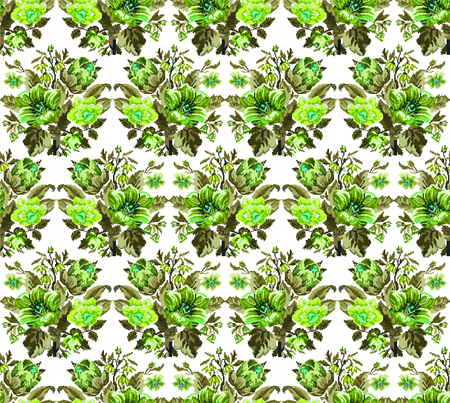 Color bouquet of wildflowers (lilia, bellflower, barberry flower and cornflowers)  using traditional Ukrainian embroidery elements. Green tones. Pixel-art. Seamless pattern.