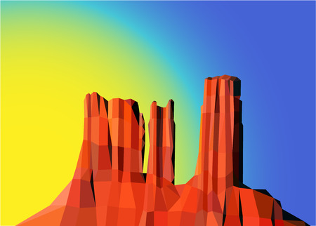 Landscape background. Western desert. Red rocks. Sunrise. Colorful (yellow and blue) sky.