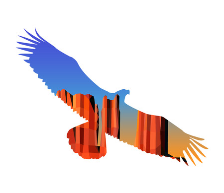 southwest: Silhouette of flying eagle with landscape background. Western desert. Red rocks. Colorful (yellow and blue) sky.
