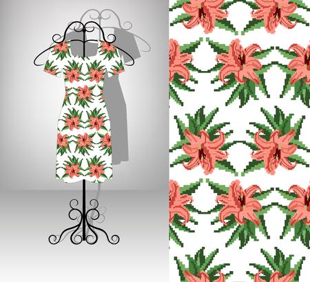 Female dress on hanger. Seamless pattern texture. Color bouquet of  lilia.  Embroidery. Pixel art. Zdjęcie Seryjne