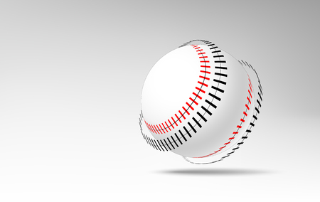 Realistic 3d rolling baseball ball with peeled off stitches.