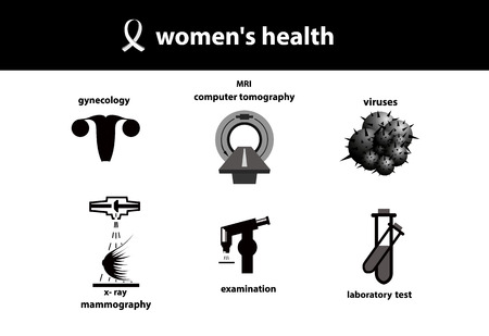 Set of medical icons. Women`s health. Silhouette of womb, mri, viruses, breast diagnostic, laboratory examination. Stock Photo