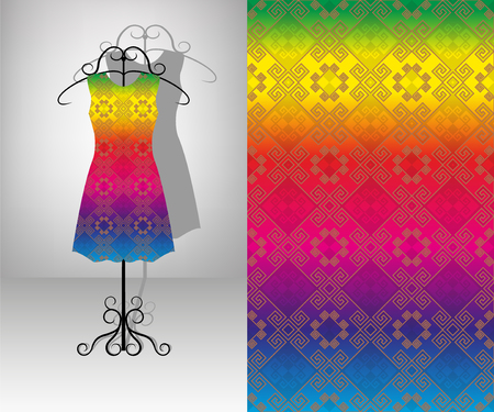 Female dress on hanger. Seamless pattern. Multicolor indian ornament.