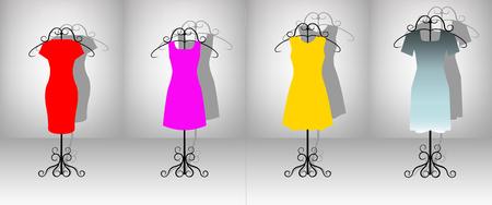 Set of four color female dresses on hanger.