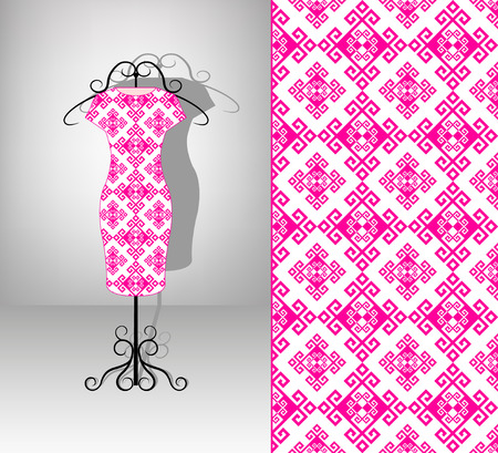 white fabric texture: Female dress on hanger. Seamless pattern. Pink antique ornament. Stock Photo