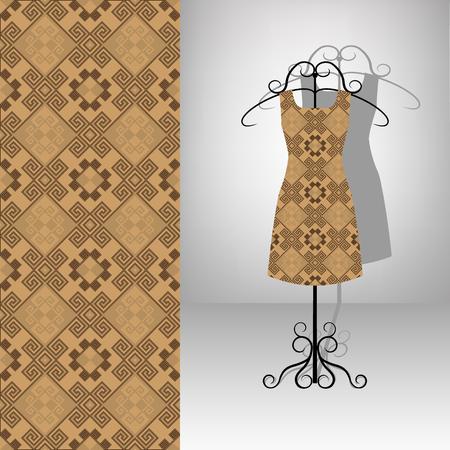 Female dress on hanger. Seamless pattern. Brown antique ornament.
