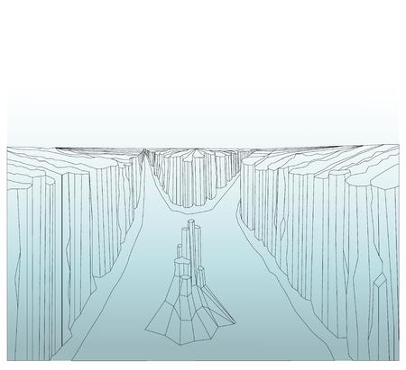Canyon landscape. Wild rocks. River. Lines art.