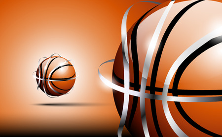 chrome: 3d abstract logo of basketball ball with silver framing (stripes) around outside . Brown tones. Stock Photo