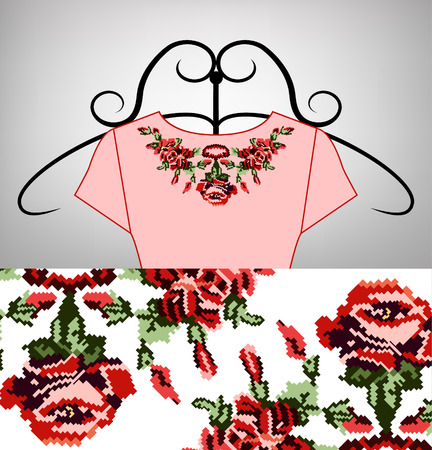 Female pink dress on hanger. Collar. Color bouquet of wildflowers (lilia, roses). Embroidery. Pixel art.  Red, pink and green tones.