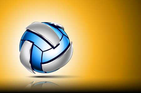 chrome: 3d abstract logo of volleyball ball. Neon sphere with silver elements around outside . Yellow background.