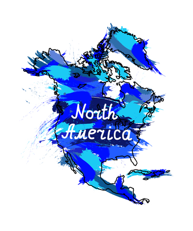 Splash stamp of North America continent. Blue tones.