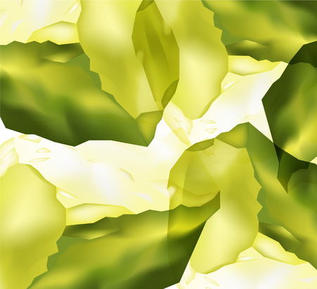 Abstract background. Ice cubes. Drink banner. Yellow and green tones.