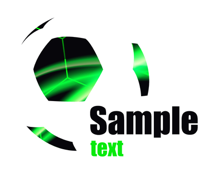 neon green: Abstract   of football (soccer) ball. Patches with neon lights. Stock Photo