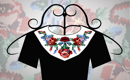 Female black dress on hanger. White collar. Color bouquet of wildflowers (lilia, roses). Embroidery. Pixel art. Zdjęcie Seryjne