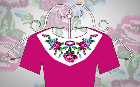 Female violet dress on hanger. Collar. Color bouquet of wildflowers (lilia, roses). Embroidery. Pixel art.