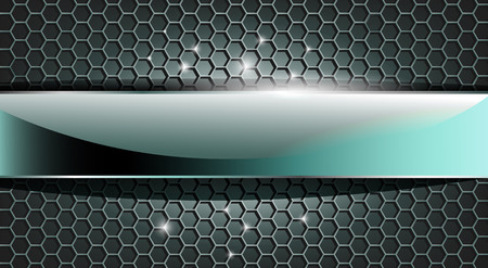 3D glass chrome plate on modern hexagon grid. Blue and gray tones. Can be used for interface websites, industrial decor, sport background... Vettoriali