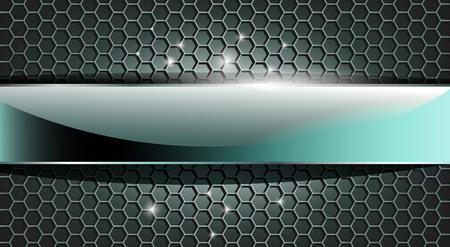 Placa de cristal 3D cromo en rejilla hexagonal moderna. Tonos azules y grises. Puede ser utilizado para sitios web de interfaz, decoración industrial, fondo deportivo ...