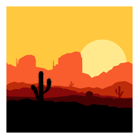 Cactus plants in sunset desert.
