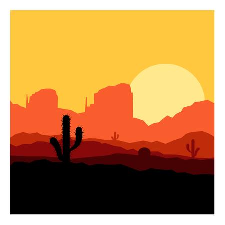 Cactus plants in sunset desert.