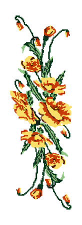 Color  bouquet of flowers (poppies) yellow and green tones. Ukrainian embroidery elements. Hand made. Can be used as pixel-art for border patterns.