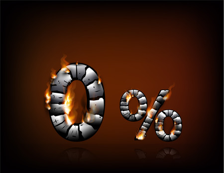 3D charcoal zero percent with dying flames. Financial or store discount banner.