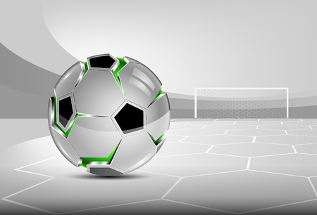 Football (soccer) background. Abstract 3D ball. Glossy sphere, silver cover with slits. Gray tones of stadium.