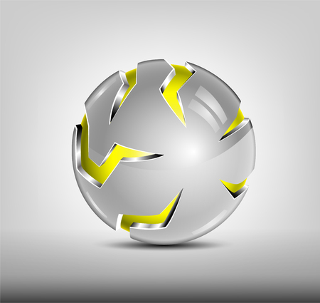 Security abstract 3d logo design. Yellow glossy sphere, silver cover with slits. Hi tech badge. Illustration