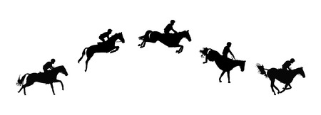Horse race. Equestrian sport. Silhouette of racing horse with jockey. Jumping. Five steps. Vettoriali