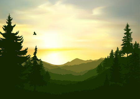 Nature background of mountains panorama. Colorful sunset in wild valley. Windy sky.