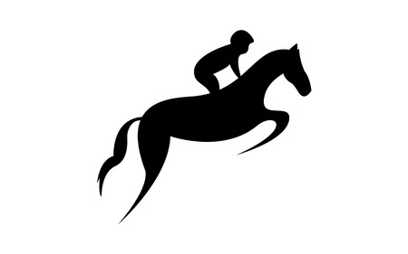 Simplified horse race.  Equestrian sport. Silhouette of racing horse with jockey. Jumping. Second step. Illustration