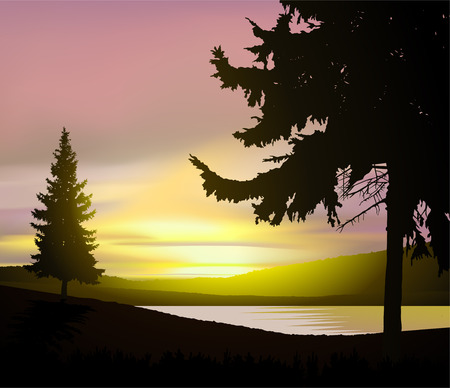 Colorful sky in wild terrain with lake (river) and pine forest.
