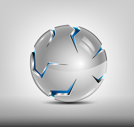Security abstract 3d design. Blue glossy sphere, silver cover with slits. Hi tech badge. Illustration