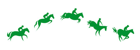 Simplified horse race. Equestrian sport. Silhouette of racing horse with jockey. Jumping. Five steps. Illustration