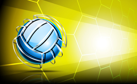 Volleyball ball with silver framing (stripes) around outside. 3d background.