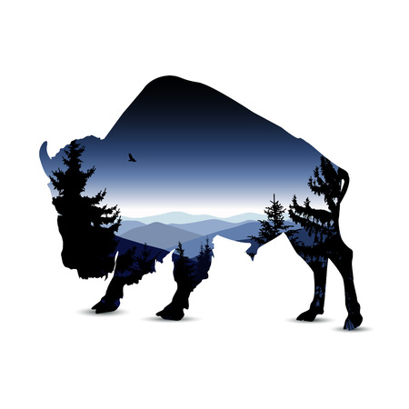 Silhouette of bull with blue evenning mountain landscape. Ilustração