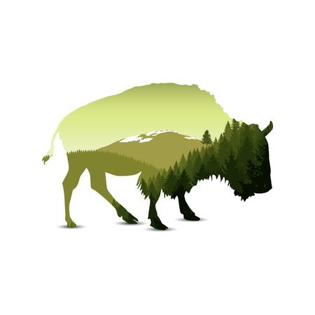 Silhouette of bison with green panorama of mountains.