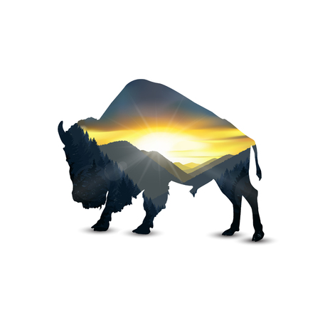 Silhouette of bison with colorful nature landscape.