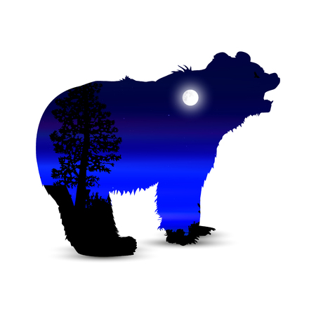 Silhouette of growling bear with neon lights of sky. Moonlight.